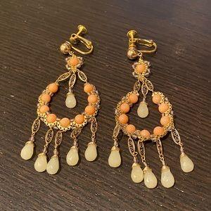 Peach Semiprecious Stone Drop Earrings